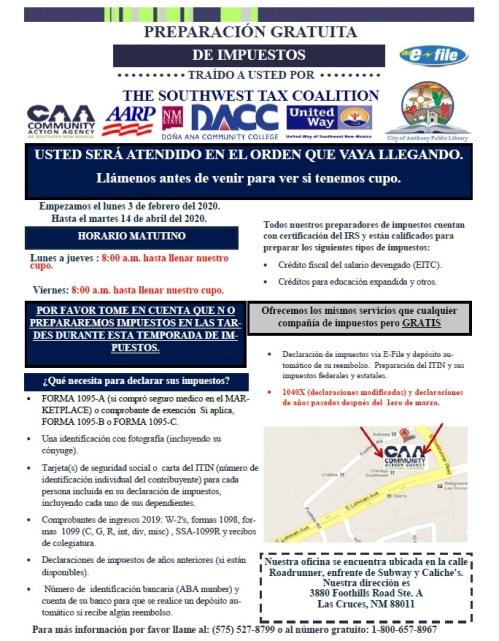2020 Tax Flyer Spanish JPEG
