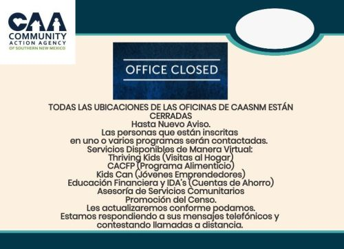 Final CAASNM Offices Closed Flyer Spanish